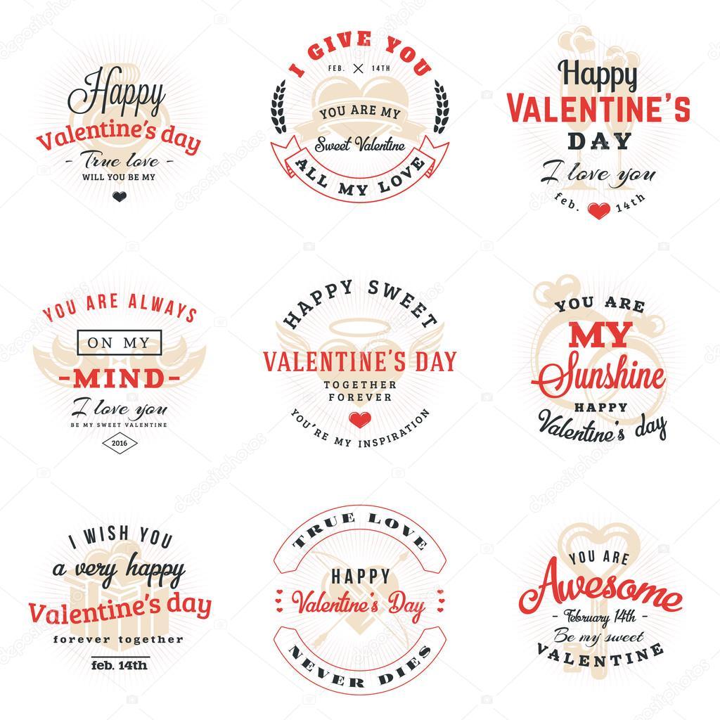 Satz von Happy Valentines Day Etiketten und Abzeichen. Retro ...