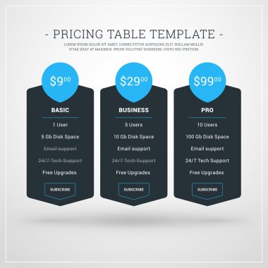 Design Template for Pricing Table for Websites and Applications. Flat Style UI. Vector Illustration