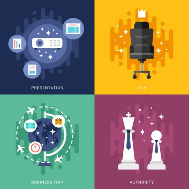 Set of Business Concepts. Presentation, VIP, Business Trip, Authority. Vector Illustration in Flat Design Style