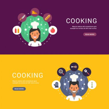 Food and Cooking Icons and Chef Cartoon Character in Circle. Set of Vector Templates in Flat Design Style for Web Banners