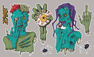 Zombie sticker pack for Halloween includes hand with eye, spider, girl and guy icon