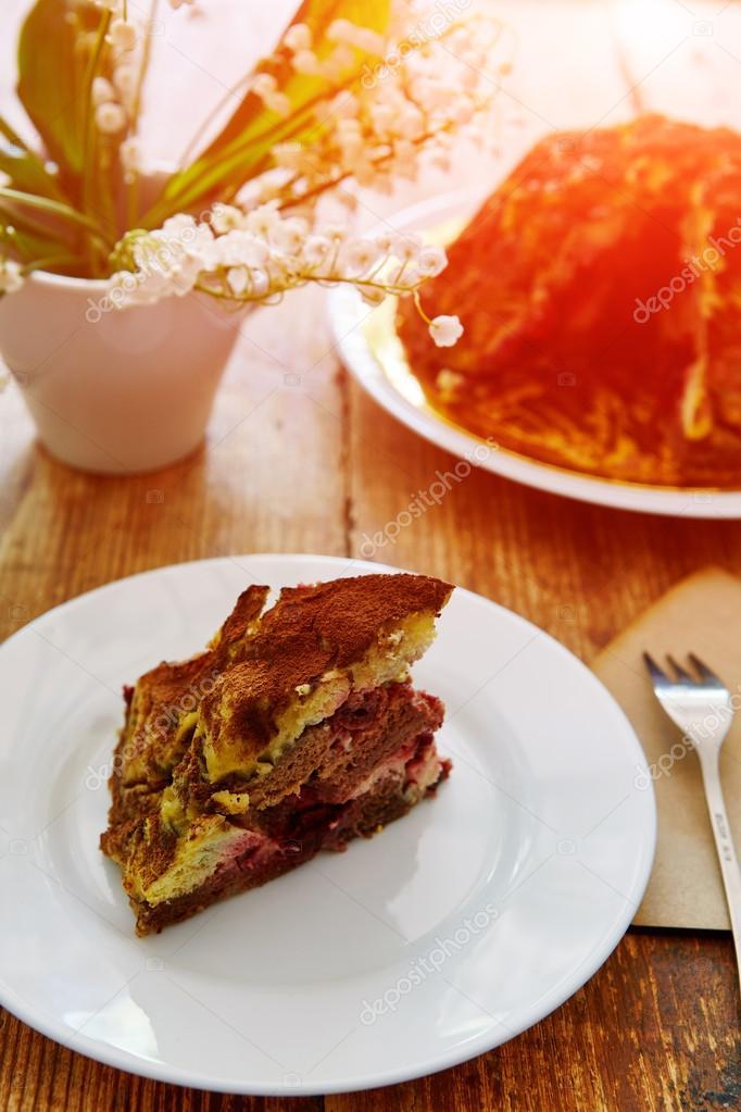 Diat Kuchen Auf Einem Holzernen Hintergrund Stockfoto