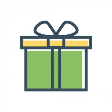 Present flat line giftbox, holiday bow ribbon package. icon