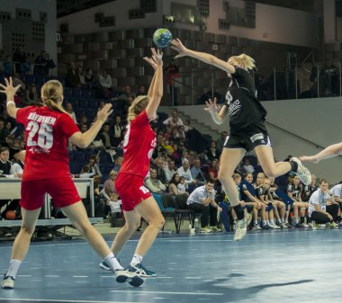 Unidentified players in action at Handball match
