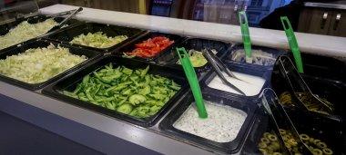 Salad bar in an Polish Kebab house
