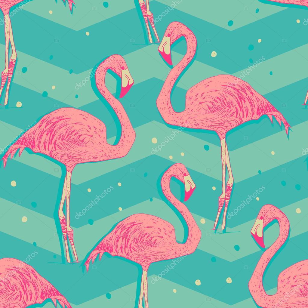 Seamless pattern with flamingo birds