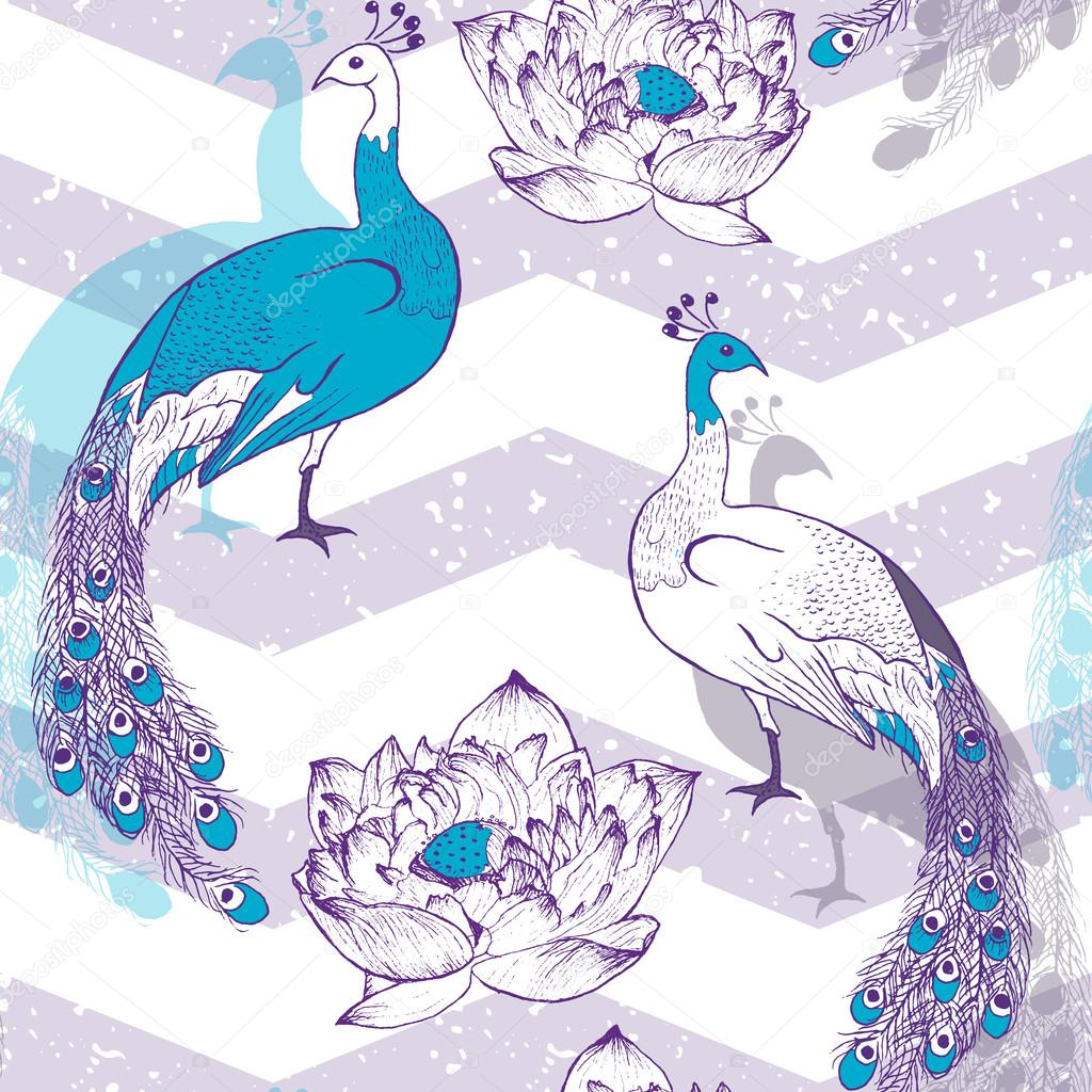 Seamless pattern with peacock birds in vector