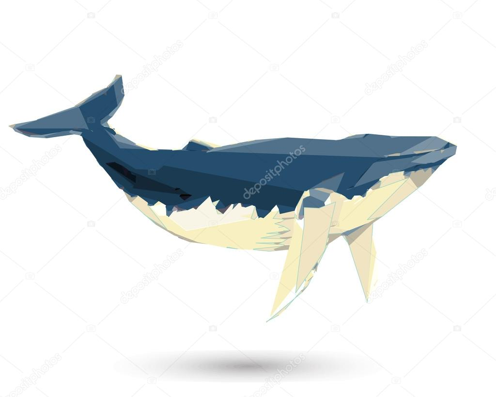 Conceptual polygonal Humpback Whale. Abstract vector Illustration, low poly style. Stylized design element. Background design for poster, flyer, cover, brochure. Logo design.