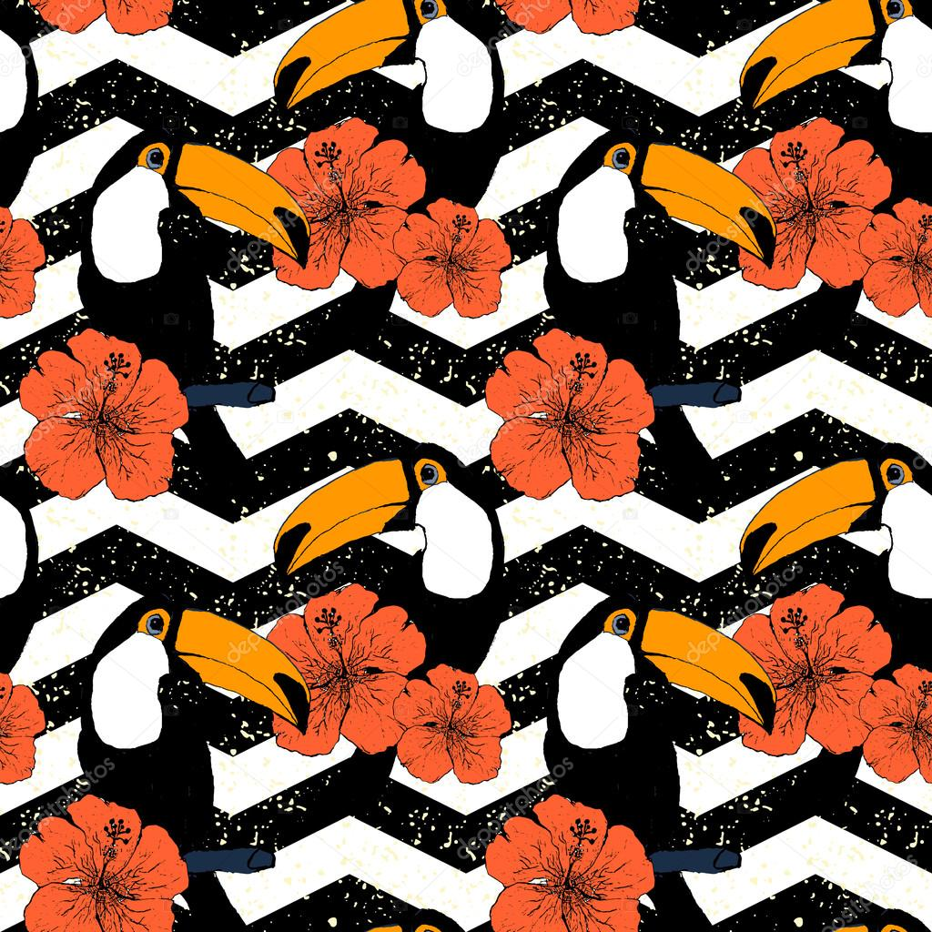 Hand drawn seamless pattern with toucans in vector