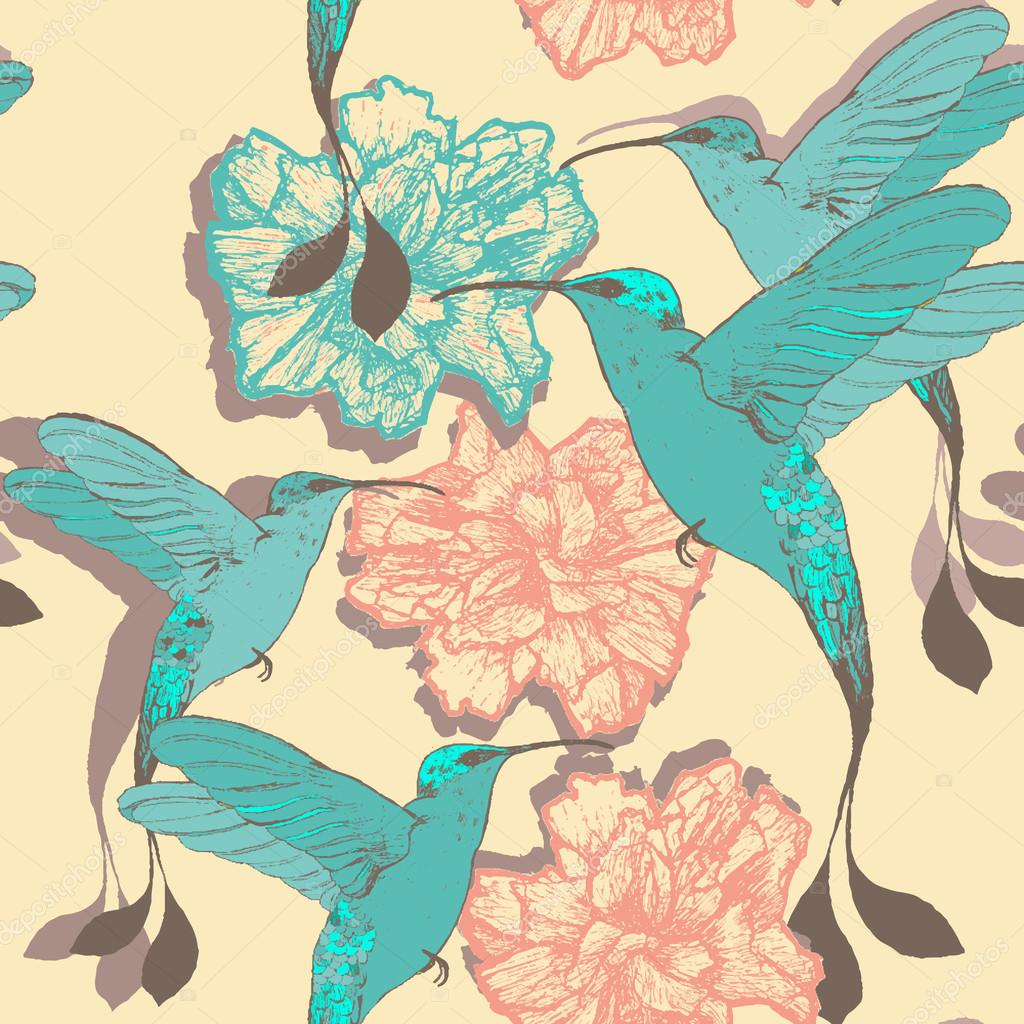 Seamless pattern with colibri birds and flowers