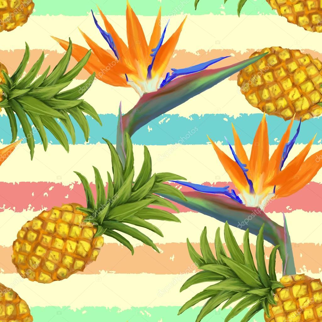 Flores ex ticas tropicales y pi a sin fisuras patr n en - Flores tropicales fotos ...