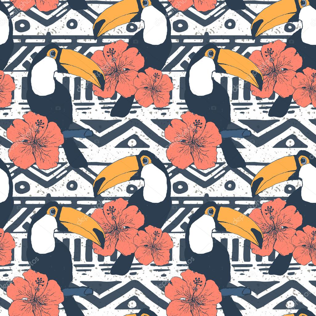 Vector Seamless Tribal Pattern with toucans. Geometrical Ethnic Print Ornament