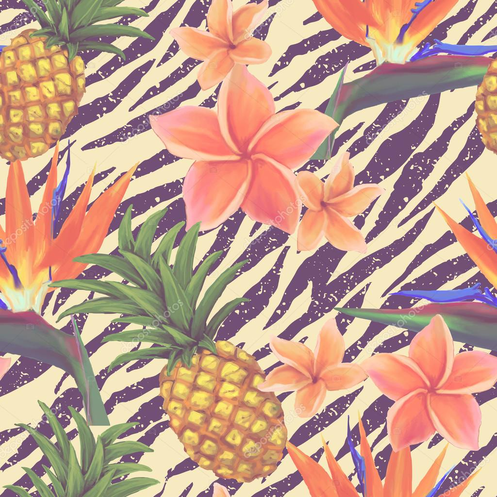 Tropical exotic flowers and pineapple seamless background in vector