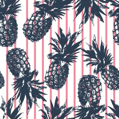 Pineapple pattern on pink stripes background
