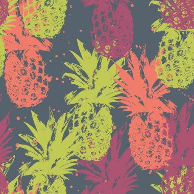 Seamless pattern with pineapple . Exotic fruit  background clip art vector