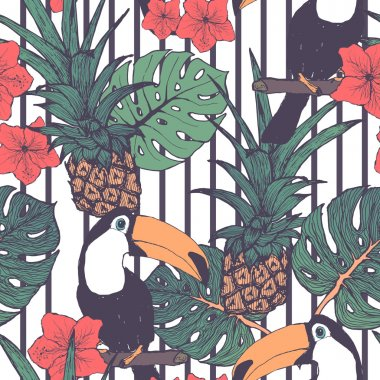 Seamless pattern with toucans pineapple and tropical leaves in vector
