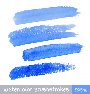 Set of Blue Watercolor Brush Strokes