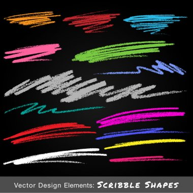 Scribble Colorful Smears Hand Drawn in Pencil on black background