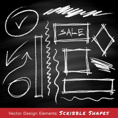 Scribble shapes hand drawn in chalk on chalkboard background , vector design elements stock vector