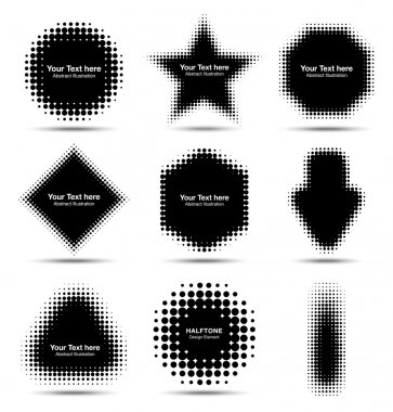 Set of 9 Abstract Halftone Design Elements