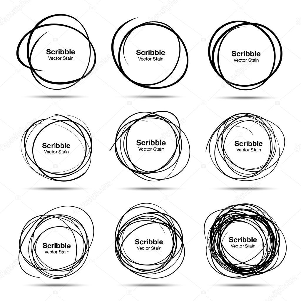 Set of 9 Hand Drawn Scribble Circles