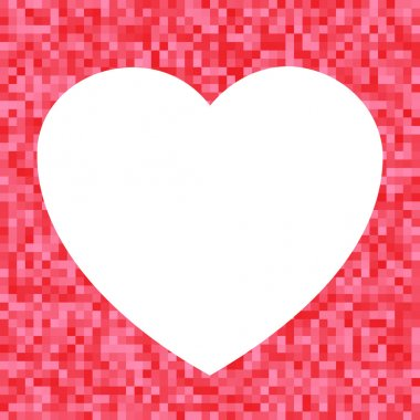 White Heart icon on Red Pixel Background