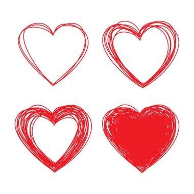 Set of Hand Drawn Scribble Hearts, vector design elements clip art vector