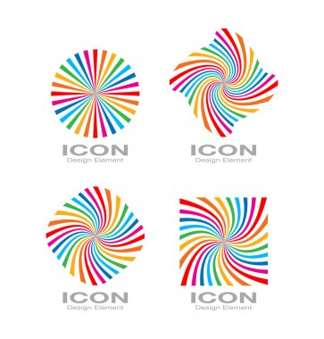 Set of Colorful Bright Rainbow Spiral Logo.