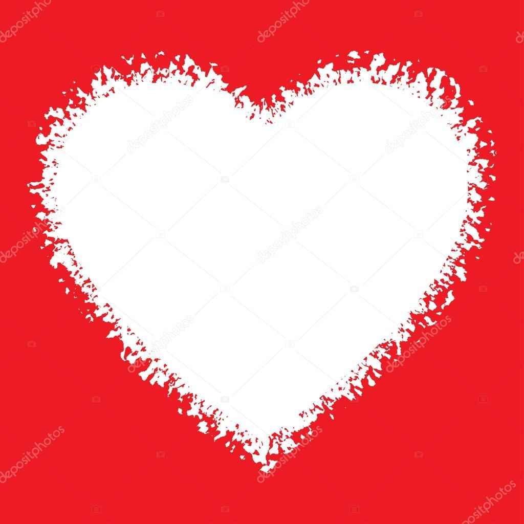 Logo blanco mano dibujado Grunge corazón sobre fondo rojo — Archivo ...