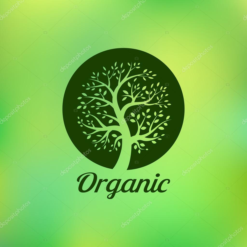 Organic green tree logo, eco emblem, ecology natural symbol