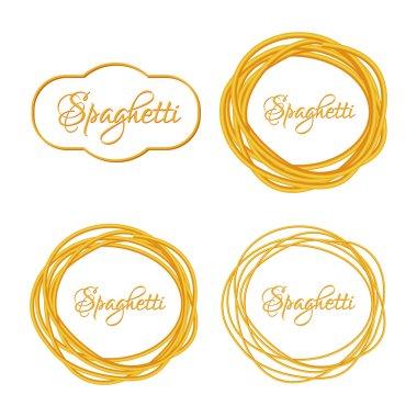Set of Realistic Twisted Spaghetti Pasta Circle Frame  logo emblem