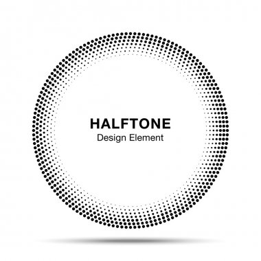 Black Abstract Halftone Circle Logo Design Element