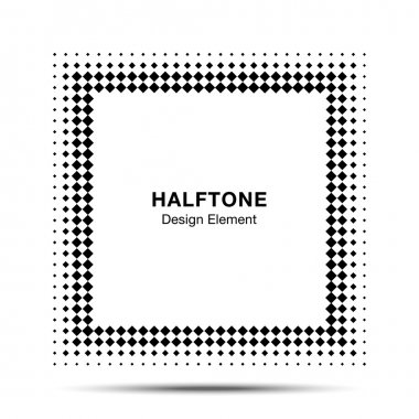 Black Abstract Halftone Square Frame Background  for your design clip art vector