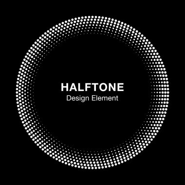 White Abstract Halftone Circle Logo Design Element