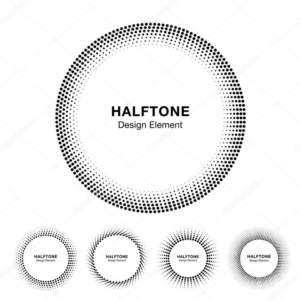 Sistema de círculo de semitono negro abstracto marco Logo — Vector ...