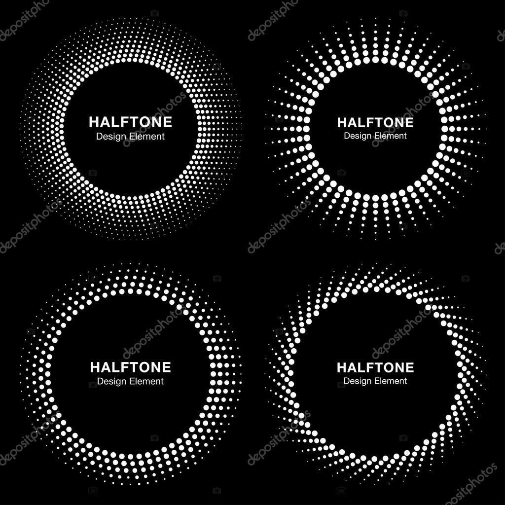 Sistema de círculo de semitono negro abstracto marco Logo — Archivo ...