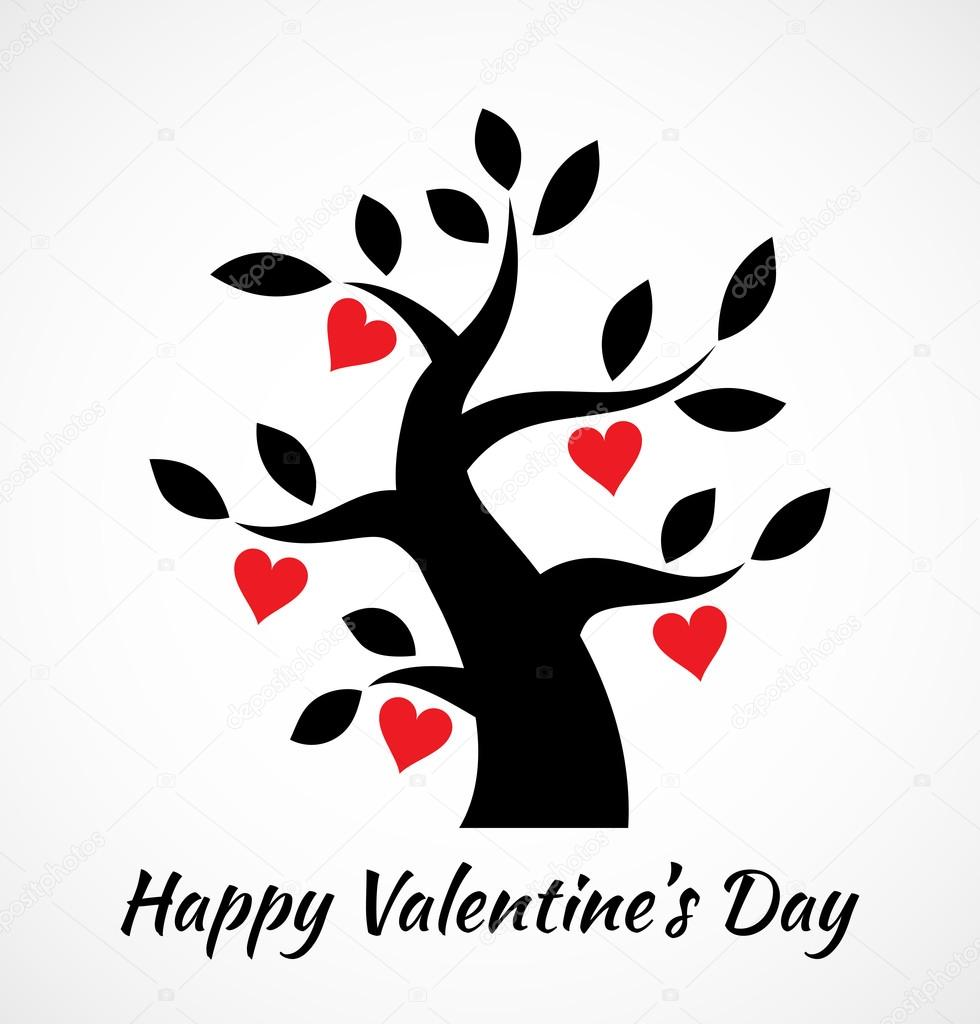 Valentines Day Vintage Tree With Hearts Icon Black Red Card Concept Vector Logo Design By Artishokcs1