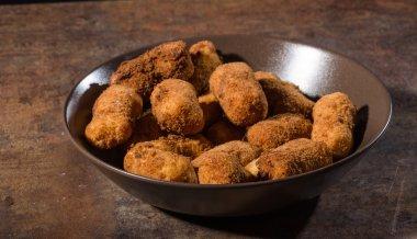 Homemade potato croquettes, product photo stock vector