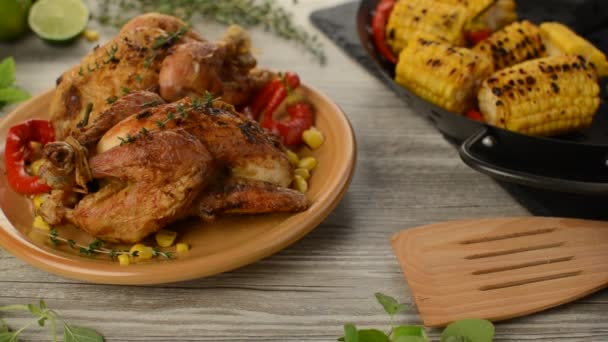 Spring baby chicken with garlic and thyme butter