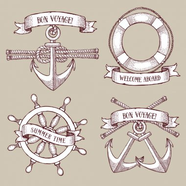 Engraved set of marine icons