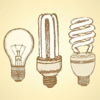 Sketch economic light bulb in vintage style