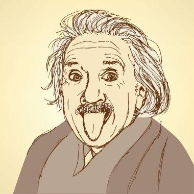 Sketch Albert Einstein in vintage style
