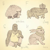 Fotografia Alfabeto di animali fancy abbozzo in stile vintage