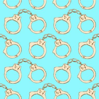 Sketch steel handcuffs in vintage style