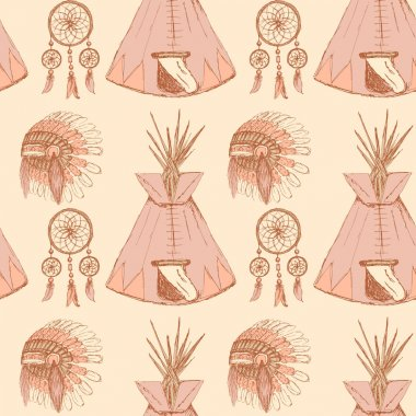 Sketch native american's symbols in vintage style
