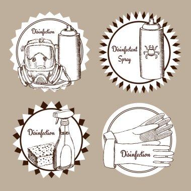 Sketch set of disinfection logo