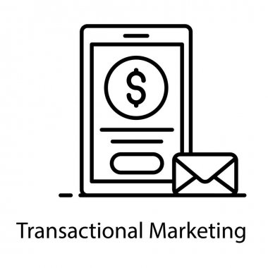 A trendy icon of transactional marketing, business message vector icon