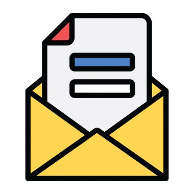 Letter inside envelope, flat style of mail icon icon
