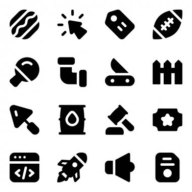 Solid vector icons pack for web and mobile applications icon