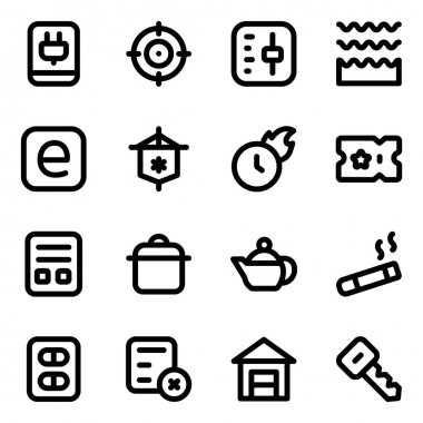 Web icons set. outline pack of 16 basic vector icon for use in the black icon